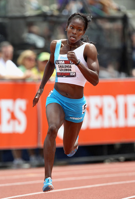 EUGENE, OR - JUNE 26:  Shalonda Solomon competes in the Women's 200 meter dash semi-final on day four of the USA Outdoor Track & Field Championships at the Hayward Field on June 26, 2011 in Eugene, Oregon.  (Photo by Christian Petersen/Getty Images)