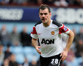 LONDON, ENGLAND - APRIL 02: Darron Gibson of Manchester United in action during the Barclays Premier League match between West Ham United and Manchester United at the Boleyn Ground on April 2, 2011 in London, England.  (Photo by Mike Hewitt/Getty Images)