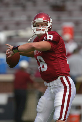 NORMAN, OK - SEPTEMBER 18:  Quarterback Jason White #18 of the Oklahoma Sooners practices passing before facing the University of Oregon Ducks during the game on September 18, 2004 at Memorial Stadium in Norman, Oklahoma.   The Sooners defeated the Ducks