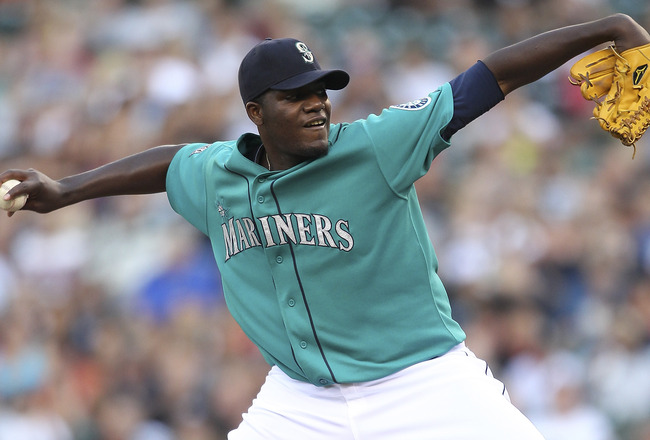 SEATTLE - AUGUST 15:  Starting pitcher Michael Pineda #36 of the Seattle Mariners pitches against the Toronto Blue Jays at Safeco Field on August 15, 2011 in Seattle, Washington. (Photo by Otto Greule Jr/Getty Images)