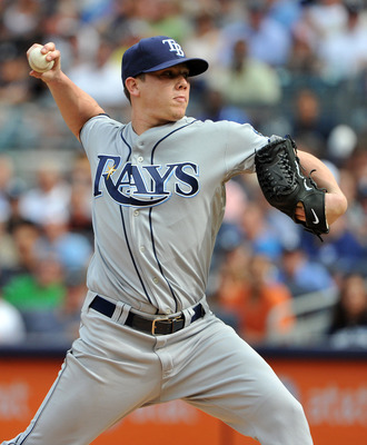 NEW YORK, NY - AUGUST 13: Jeremy Hellickson #58 of the Tampa Bay Rays throws a pitch in the bottom of the first inning against the New York Yankees at Yankee Stadium on August 13, 2011 in the Bronx borough of New York City. (Photo by Christopher Pasatieri