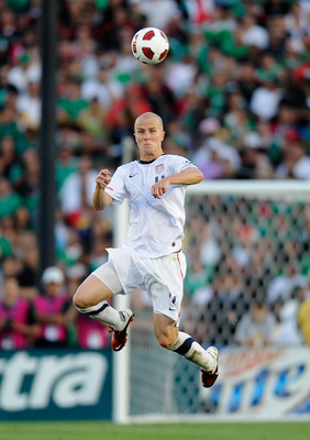 PASADENA, CA - JUNE 25: Michael Bradley #4 of the United States heads the ball against Mexico during the 2011 CONCACAF Gold Cup Championship at the Rose Bowl on June 25, 2011 in Pasadena, California.  (Photo by Kevork Djansezian/Getty Images)