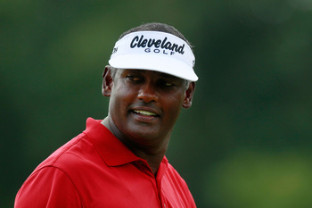 JOHNS CREEK, GA - AUGUST 12: Vijay Singh of Fiji looks on from the third hole during the second round of the 93rd PGA Championship at the Atlanta Athletic Club on August 12, 2011 in Johns Creek, Georgia.  (Photo by Kevin C. Cox/Getty Images)