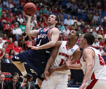 TUCSON, AZ - MARCH 17:  Drew Hanlen #1 of the Belmont Bruins shoots in front of Jordan Taylor #11 and Keaton Nankivil #52 of the Wisconsin Badgers during the second round of the 2011 NCAA men's basketball tournament at McKale Center on March 17, 2011 in T