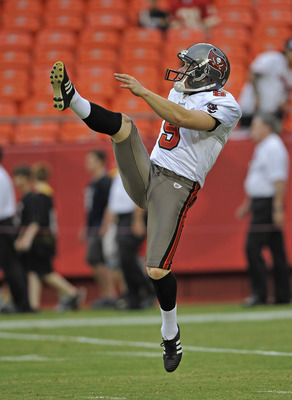 KANSAS CITY, MO - AUGUST 12:  Punter Michael Koenen #9 of the Tampa Bay Buccaneers before a game the Kansas City Chiefs on August 12, 2011 at Arrowhead Stadium in Kansas City, Missouri.  (Photo by Peter Aiken/Getty Images)