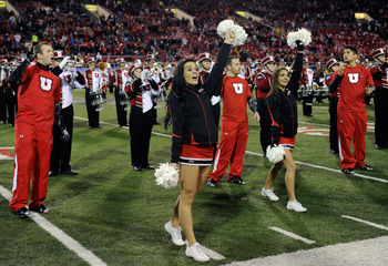 LAS VEGAS, NV - DECEMBER 22:  Utah Utes cheerleaders perform before the MAACO Bowl Las Vegas against the Boise State Broncos at Sam Boyd Stadium December 22, 2010 in Las Vegas, Nevada. Boise State Won 26-3.  (Photo by Ethan Miller/Getty Images)
