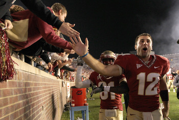 TALLAHASSEE, FL - NOVEMBER 27:  Brandon Parks #12 of the Florida State Seminoles celebrates a win against the Florida Gators at Doak Campbell Stadium on November 27, 2010 in Tallahassee, Florida.  (Photo by Mike Ehrmann/Getty Images)