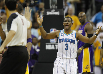 NEW ORLEANS - APRIL 24:  Chris Paul #3 of the New Orleans Hornets reacts to a call during a game with the Los Angeles Lakers in Game Four of the Western Conference Quarterfinals in the 2011 NBA Playoffs at New Orleans Arena on April 24, 2011 in New Orlean