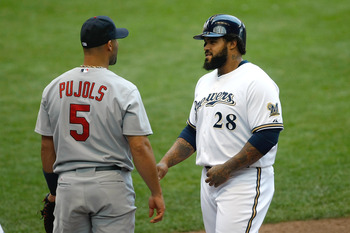 MILWAUKEE, WI - AUGUST 03: Prince Fielder #28 of the Milwaukee Brewers has words with Albert Pujols #5 of the St. Louis Cardinals at first base at Miller Park on August 3, 2011 in Milwaukee, Wisconsin. (Photo by Scott Boehm/Getty Images)