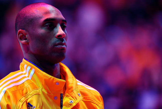 LOS ANGELES, CA - MAY 02:  Kobe Bryant #24 of the Los Angeles Lakers looks on during the national anthem before taking on the Dallas Mavericks in Game One of the Western Conference Semifinals in the 2011 NBA Playoffs at Staples Center on May 2, 2011 in Lo
