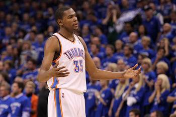 OKLAHOMA CITY, OK - MAY 23:  Kevin Durant #35 of the Oklahoma City Thunder reacts after having his three-point attempt blocked by Shawn Marion #0 of the Dallas Mavericks with 2.6 seconds remaining in the fourth quarter in Game Four of the Western Conferen