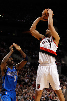 PORTLAND, OR - APRIL 21:  Brandon Roy #7 of the Portland Trail Blazers shoots against Jason Terry #31 of the Dallas Mavericks in Game Three of the Western Conference Quarterfinals in the 2011 NBA Playoffs on April 21, 2011 at the Rose Garden in Portland,