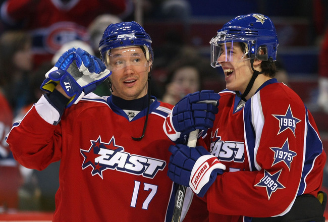 MONTREAL - JANUARY 24:  Eastern Conference All-Stars Ilya Kovalchuk of the Atlanta Thrashers and Evgeni Malkin of the Pittsburgh Penguins talk during the McDonalds/NHL All-Star open practice as part of the 2009 NHL All-Star weekend on January 24, 2009 at