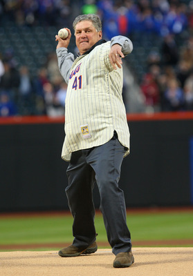 NEW YORK - APRIL 13:  Former Mets pitcher Tom Seaver throws out the ceremonial first pitch before the San Diego Padres against the New York Mets during opening day at Citi Field on April 13, 2009 in the Flushing neighborhood of the Queens borough of New Y