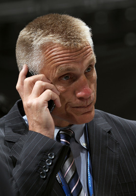 LOS ANGELES, CA - JUNE 25:  Philadelphia Flyers General Manager Paul Holmgren speaks on the phone during the 2010 NHL Entry Draft at Staples Center on June 25, 2010 in Los Angeles, California.  (Photo by Bruce Bennett/Getty Images)