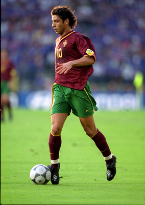 28 Jun 2000:  Rui Costa of Portugal in action during the European Championships 2000 Semi Final match against France at the King Baudouin Stadium, Brussels, Belgium. France won 2-1 after extra time and on the Golden Goal. \ Mandatory Credit: Ben Radford /