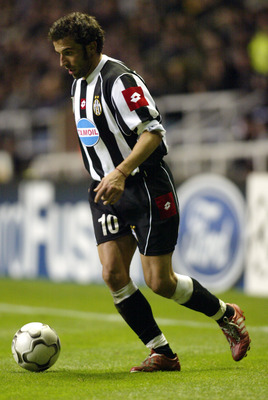 NEWCASTLE - OCTOBER 23:  Alessandro Del Piero of Juventus in action during the UEFA Champions League First Phase Group E match between Newcastle United and Juventus on October 23, 2002 played at St. James' Park in Newcastle, England. Newcastle won the mat