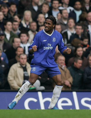 LONDON - DECEMBER 4: Didier Drogba celebrates scoring Chelsea's second goal during the Barclays Premiership match between Chelsea and Newcastle United at Stamford Bridge on December 4, 2004 in London, England.  (Photo by Ben Radford/Getty Images)