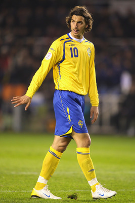 STOCKHOLM, SWEDEN - NOVEMBER 21:  Zlatan Ibrahimovic of Sweden in action during the Euro 2008 Group F qualifying match between Sweden and Latvia at the Rasunda Stadium on November 21, 2007 in  Stockholm, Sweden.  (Photo by Mark Thompson/Getty Images)