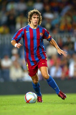 BARCELONA, SPAIN - AUGUST 20:  Carles Puyol of FC Barcelona is seen in action during the match between FC Barcelona and Real Betis of the Spain Supercup Final on August 20, 2005 at Camp Nou stadium in Barcelona, Spain.  (Photo by Luis Bagu/Getty Images)