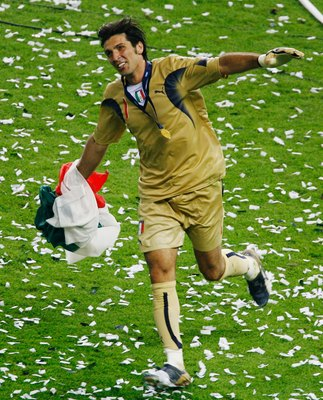 BERLIN - JULY 09:  Gianluigi Buffon of Italy celebrates  following his team's victory in a penalty shootout at the end of the FIFA World Cup Germany 2006 Final match between Italy and France at the Olympic Stadium on July 9, 2006 in Berlin, Germany.  (Pho