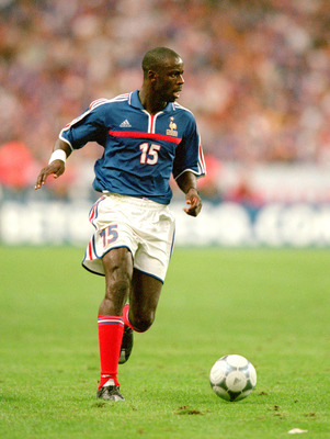 2 Sep 2000:  Lilian Thuram of France in action during the International friendly against England at the Stade de France in Paris, France.  The match was drawn 1-1. \ Mandatory Credit: Clive Brunskill /Allsport