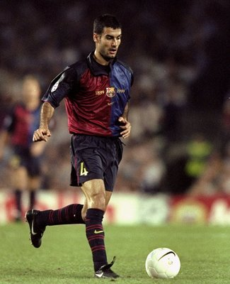 29 Sep 1999:  Josep Guardiola of Barcelona in action during the European Champions League Group match against Arsenal at the Nou Camp Stadium, Barcelona, Spain. The match ended 1-1. \ Mandatory Credit: Stu Forster /Allsport