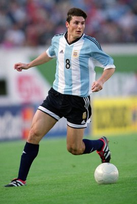 8 Nov 2001:  Javier Zanetti of Argentina in action during the FIFA 2002 World Cup Qualifier against Peru played at the Estadio River Plate in Buenos Aires, Argentina.  Argentina won the match 2 - 0. \ Mandatory Credit: Shaun Botterill /Allsport