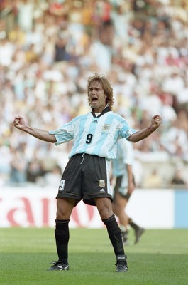 21 Jun 1998:  Gabriel Batistuta of Argentina celebrates after scoring in the World Cup group F match against Jamaica at the Parc des Princes in Paris. Batistuta scored a hat-trick as Argentina won 5-0. \ Mandatory Credit: Mark Thompson /Allsport