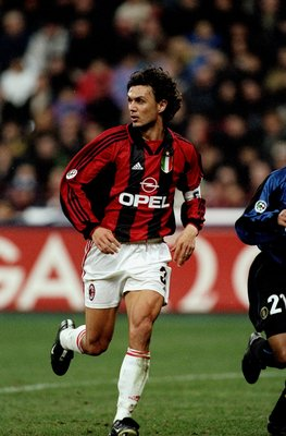 5 Mar 2000:  Paolo Maldini of AC Milan in action during the Serie A match against Internazionale at the San Siro in Milan, Italy.  Internazionale won the match 2-1. \ Mandatory Credit: Claudio Villa /Allsport