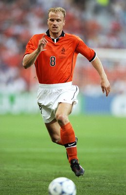20 Jun 1998:  Dennis Bergkamp of Holland on the ball during the World Cup group E game against South Korea at the Stade Velodrome in Marseille, France. Bergkamp scored as Holland won 5-0. \ Mandatory Credit: Stu Forster /Allsport