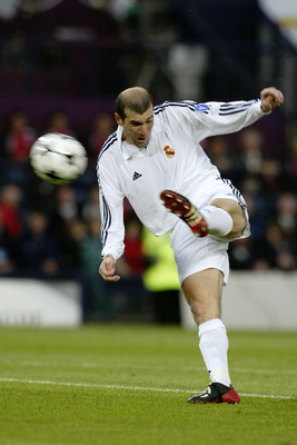 GLASGOW - May 15:  Zinedine Zidane of Real Madrid scores a wonderful goal during the UEFA Champions League Final between Real Madrid and Bayer Leverkusen played at Hampden Park, in Glasgow, Scotland on May 15, 2002. Real Madrid won the match and cup 2-1.