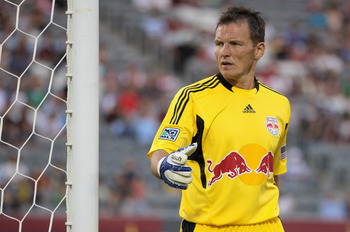 COMMERCE CITY, CO - JULY 20:  Frank Rost #1 of the New York Red Bulls looks on as he defends the goal against the Colorado Rapids at Dick's Sporting Goods Park on July 20, 2011 in Commerce City, Colorado.  (Photo by Doug Pensinger/Getty Images)