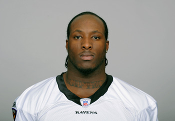 BALTIMORE, MD - CIRCA 2010:  In this handout image provided by the NFL , Sergio Kindle of the Baltimore Ravens poses for his 2010 NFL headshot circa 2010 in Baltimore, Maryland.  ( Photo by NFL via Getty Images)
