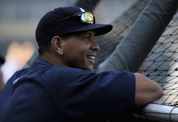 MINNEAPOLIS, MN - AUGUST 18: Alex Rodriguez #13 of the New York Yankees watches batting practice prior to the game against the Minnesota Twins on August 18, 2011 at Target Field in Minneapolis, Minnesota. (Photo by Hannah Foslien/Getty Images)