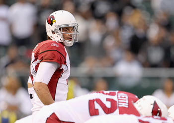 OAKLAND, CA - AUGUST 11:  Kevin Kolb #4 of the Arizona Cardinals in action against the Oakland Raiders at O.co Coliseum on August 11, 2011 in Oakland, California.  (Photo by Ezra Shaw/Getty Images)