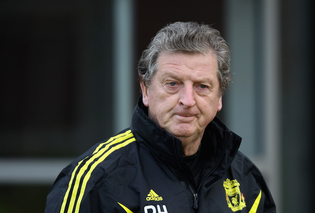 LIVERPOOL, ENGLAND - DECEMBER 14:  Liverpool manager Roy Hodgson during a training session ahead of their UEFA Europa League Group K match against Utrecht at Melwood Training Ground on December 14, 2010 in Liverpool, England.  (Photo by Clive Brunskill/Ge