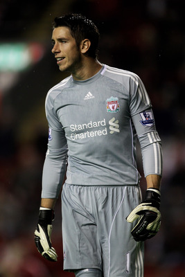 LIVERPOOL, ENGLAND - SEPTEMBER 22:   Brad Jones of Liverpool looks on during the Carling Cup Third Round game between Liverpool and Northampton Town at Anfield on September 22, 2010 in Liverpool, England. (Photo by Alex Livesey/Getty Images)