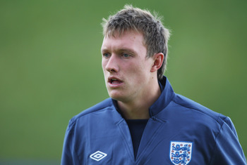 FREDERICIA, DENMARK - JUNE 14:  Phil Jones during the England under 21's training session at Monjasa Park stadium ahead of their UEFA European Under-21 Championship Group B match against Ukraine on June 14, 2011 in Fredericia, Denmark.  (Photo by Ian Walt