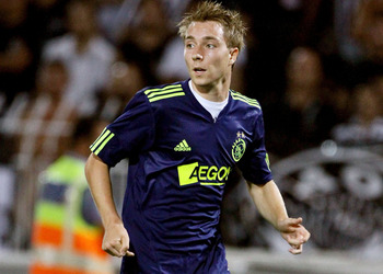 THESSALONIKI, GREECE - AUGUST 04:  Christian Eriksen of Ajax during the Uefa Champions League qualifying match between Paok and Ajax at Toumba Stadium on August 4, 2010 in Thessaloniki, Greece.  (Photo by Getty Images/Getty Images)