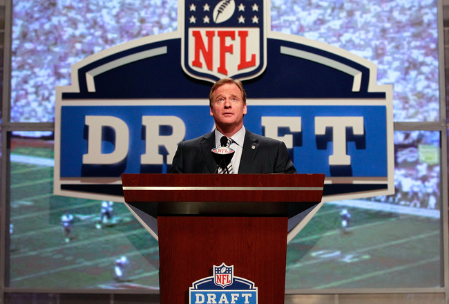 NEW YORK, NY - APRIL 28:  NFL Commissioner Roger Goodell speaks at the podium during the 2011 NFL Draft at Radio City Music Hall on April 28, 2011 in New York City.  (Photo by Chris Trotman/Getty Images)