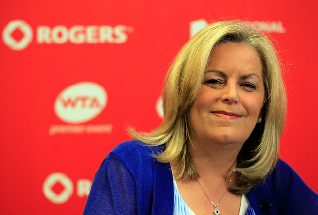 TORONTO, ON - AUGUST 13: WTA CEO Stacey Allaster speaks with the media during a press conference on Day 6 of the Rogers Cup presented by National Bank at the Rexall Centre on August 13, 2011 in Toronto, Ontario, Canada.  (Photo by Chris Trotman/Getty Imag