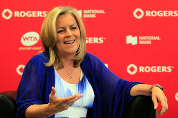 TORONTO, ON - AUGUST 13:  WTA CEO Stacey Allaster speaks with the media during a press conference on Day 6 of the Rogers Cup presented by National Bank at the Rexall Centre on August 13, 2011 in Toronto, Ontario, Canada.  (Photo by Chris Trotman/Getty Ima
