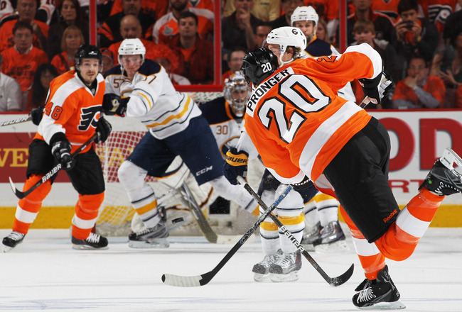 PHILADELPHIA, PA - APRIL 26:  Chris Pronger #20 of the Philadelphia Flyers shoots against the Buffalo Sabres in Game Seven of the Eastern Conference Quarterfinals during the 2011 NHL Stanley Cup Playoffs at Wells Fargo Center on April 26, 2011 in Philadel