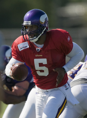 MANKATO, MN - AUGUST 4:  Donovan McNabb #5 of the Minnesota Vikings carries the ball during training camp at Minnesota State University on August 4, 2011 in Mankato, Minnesota. (Photo by Hannah Foslien/Getty Images)