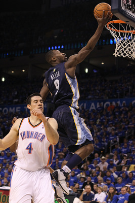 OKLAHOMA CITY, OK - MAY 01:  Guard Tony Allen #9 of the Memphis Grizzlies takes a shot against Nick Collison #4 of the Oklahoma City Thunder in Game One of the Western Conference Semifinals in the 2011 NBA Playoffs on May 1, 2011 at Oklahoma City Arena in