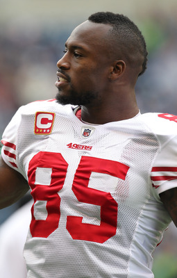 SEATTLE - SEPTEMBER 12:  Tight end Vernon Davis #85 of the San Francisco 49ers looks on during warm ups prior to the NFL season opener against the Seattle Seahawks at Qwest Field on September 12, 2010 in Seattle, Washington. (Photo by Otto Greule Jr/Getty