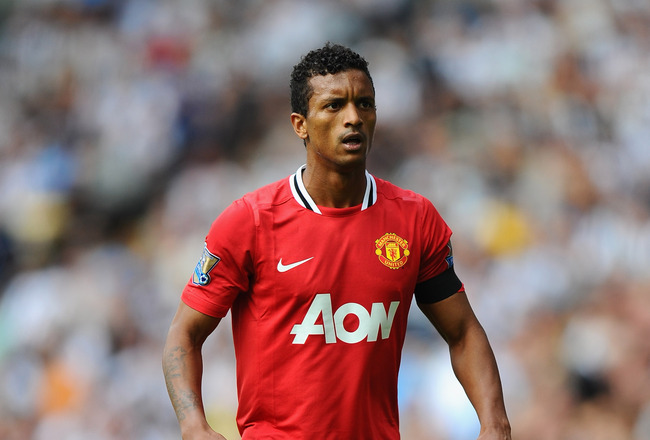 WEST BROMWICH, ENGLAND - AUGUST 14: Nani of Manchester United looks on during the Barclays Premier League match between West Bromwich Albion and Manchester United at The Hawthorns on August 14, 2011 in West Bromwich, England.  (Photo by Mike Hewitt/Getty