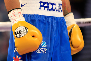 LAS VEGAS, NV - MAY 07:  The gloves of Manny Pacquiao of the Philippines are seen before Pacquiao takes on Shane Mosley in the WBO welterweight title fight at MGM Grand Garden Arena on May 7, 2011 in Las Vegas, Nevada.  (Photo by Chris Trotman/Getty Image