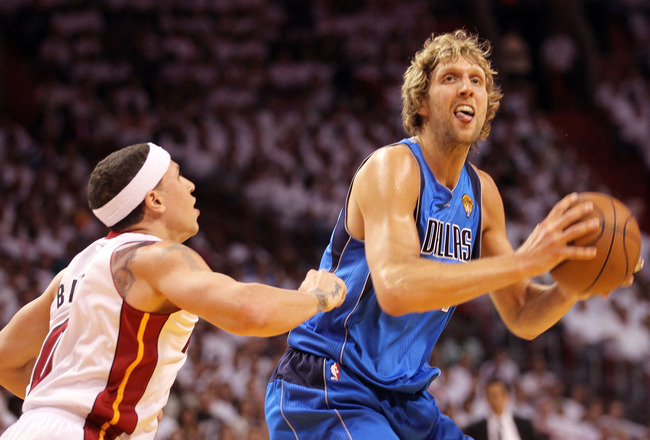 MIAMI, FL - JUNE 02:  Dirk Nowitzki #41 of the Dallas Mavericks looks to shoot against Mike Bibby #0 of the Miami Heat in Game Two of the 2011 NBA Finals at American Airlines Arena on June 2, 2011 in Miami, Florida. NOTE TO USER: User expressly acknowledg